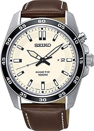 Seiko Reloj Analógico para Hombre de Kinetico con Correa en Cuero SKA787P1: Amazon.es: Relojes