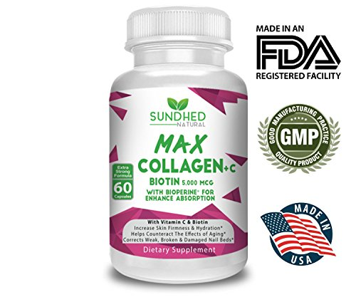 51i8FcVKmtL - Sundhed Natural Max Collagen Plus C (60 caps) - All Natural Collagen Capsules with Biotin & Bioperine to Boost Anti Aging Hydration & Skin Firmness - Collagen Pills to Strengthen Bones & Nails