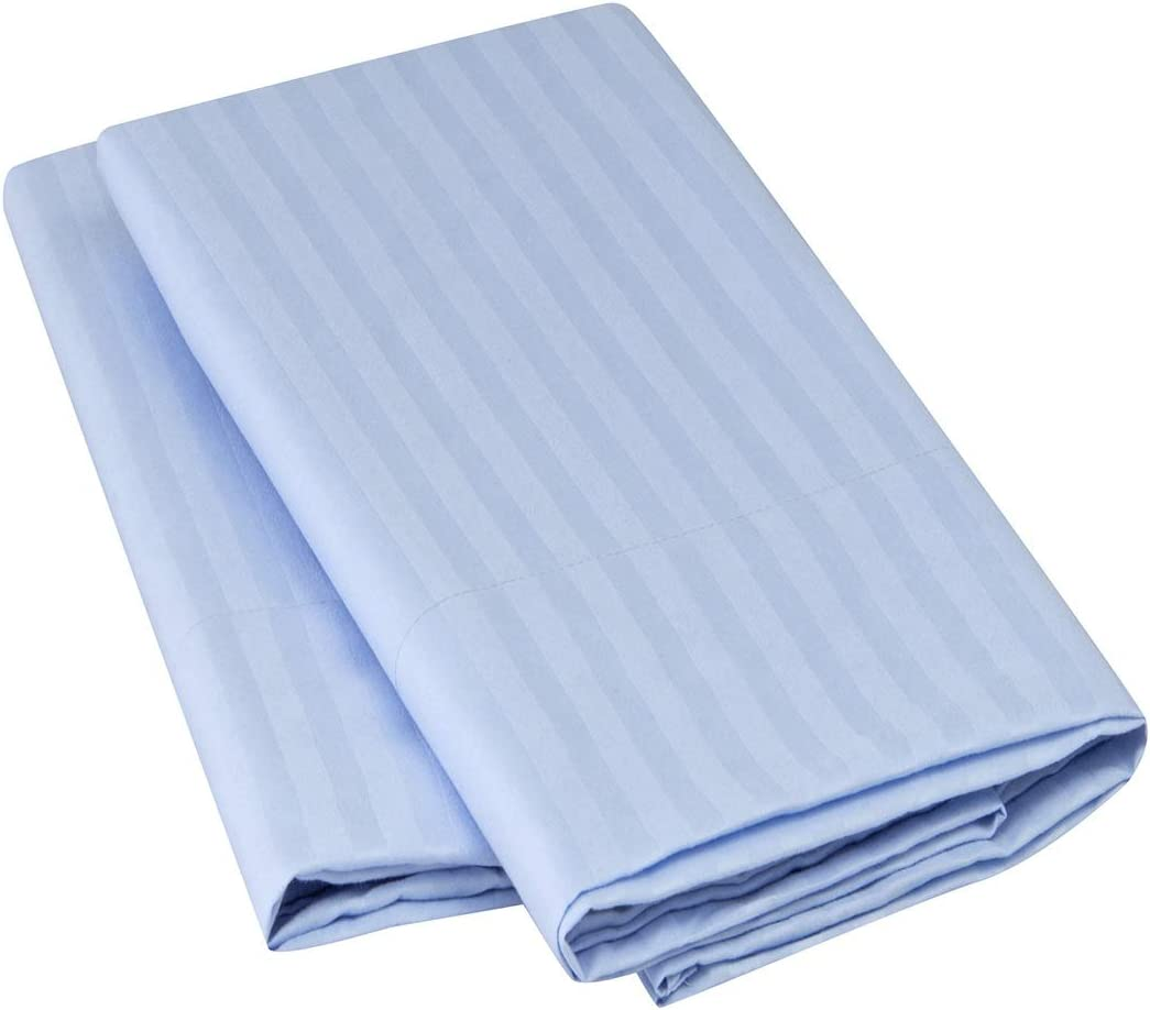 Mellanni Striped Luxury Pillowcase Set - Brushed Microfiber 1800 Bedding - Wrinkle, Fade, Stain Resistant - Hypoallergenic (Set of 2 Standard Size, Striped Light Blue)