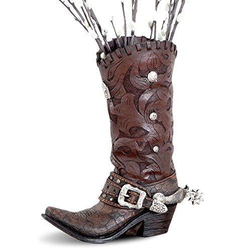 (HiEnd Accents Brown Gator Western Tooled Boot Vase)