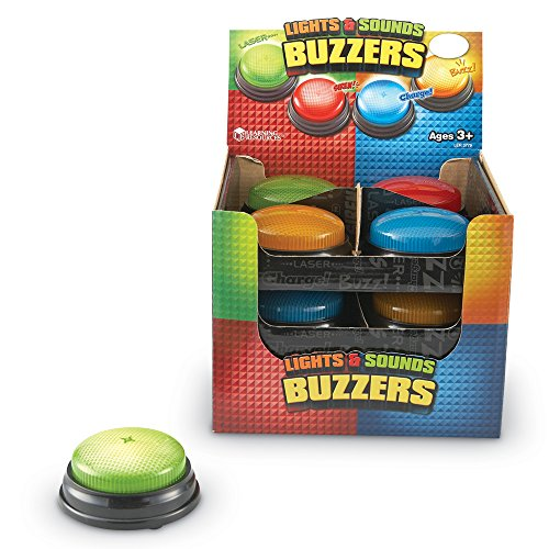 Learning Resources Lights and Sounds Buzzers, Set of 12 - Game Show Buzzer