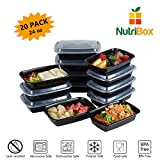 #8: NutriBox [20 Value Pack] single one compartment 24 OZ Meal Prep Plastic Food Storage Containers - BPA Free Reusable Lunch Bento Box - Microwave, Dishwasher and Freezer Safe - For School Work or Trips