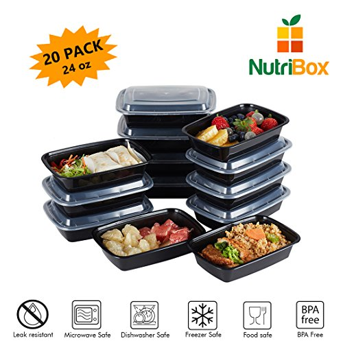 5 Inch Fruit Dish (NutriBox [20 Value Pack] single one compartment 24 OZ Meal Prep Plastic Food Storage Containers - BPA Free Reusable Lunch Bento Box - Microwave, Dishwasher and Freezer Safe - For School Work or Trips)
