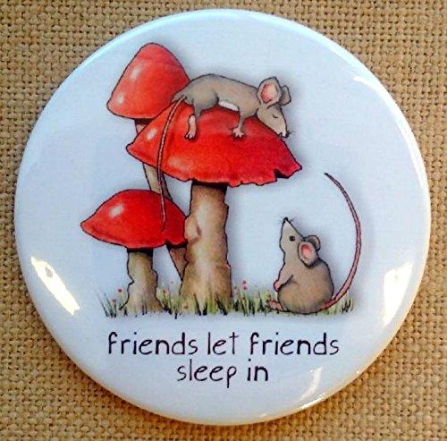 Magnet: 3.5', Friends Let Friends Sleep In, Humor, Cute Mice, Toadstools, Whimsical Art