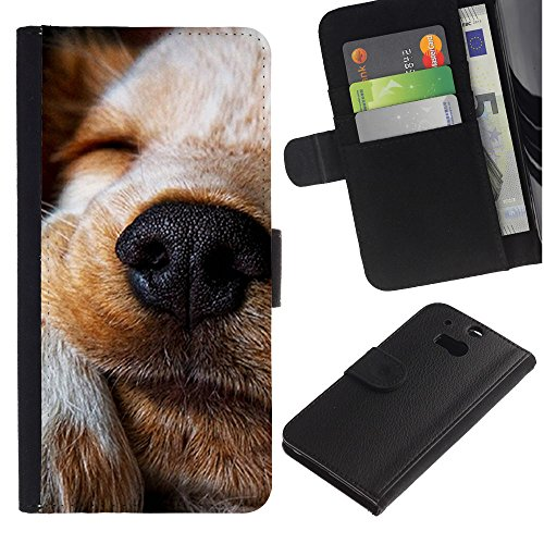 LASTONE PHONE CASE / Lujo Billetera de Cuero Caso del tirón Titular de la tarjeta Flip Carcasa Funda para HTC One M8 / Jack Russell Labrador Retriever Terrier Dog