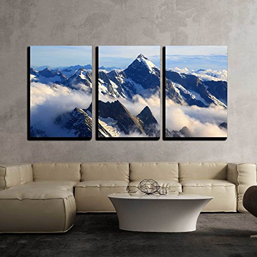 wall26 - 3 Piece Canvas Wall Art - Landscape of Mountain Cook Peak with Mist from Helicopter, New Zealand - Modern Home Decor Stretched and Framed Ready to Hang - 24
