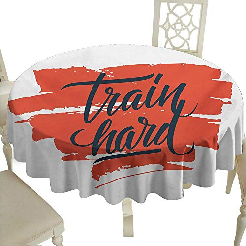 longbuyer Round Tablecloth Fitness,Train Hard Inspirational Phrase on Brush Strokes Assiduity Determination,Scarlet Black White D50,for 40 inch Table