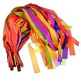 Dance Rainbow Ribbon, Yamix Colorful Hand Held Dance Rainbow Ribbon Rhythm Ribbon Artistic Gymnastics Dancing Rainbow Streamer Toys for Kids Children 12Pcs - Random Color
