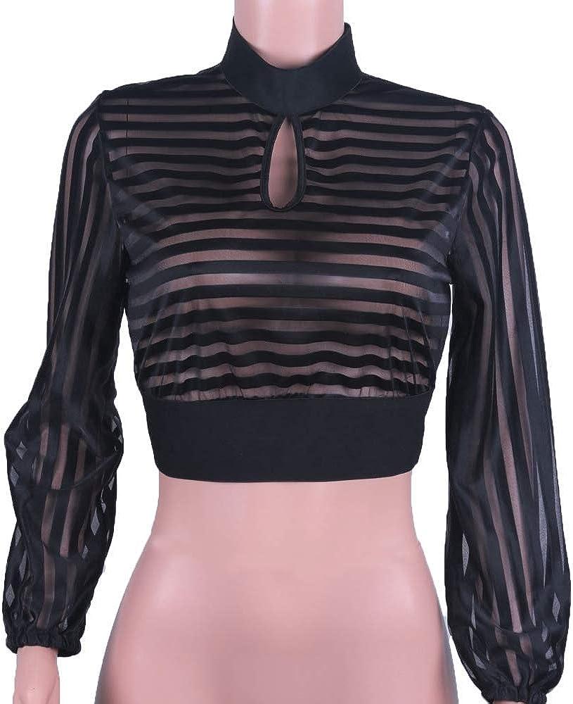 Loalirando Camicia a Manica Lunga Maglia Ragazza Donna Tumblr Collo Alto Trasparente Senza Schienale Autunno Inverno Primavera Serata Clubwear Sottile Casual