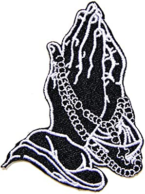 God Pray Praying Hand Tatoo Jacket T-shirt Patch Sew Iron on Embroidered Sign Badge Costume