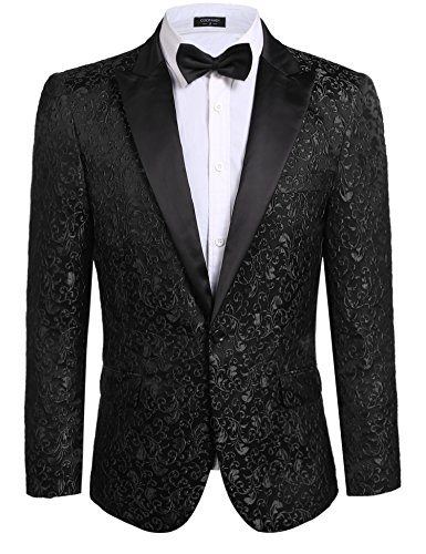 Coofandy Mens Floral Party Dress Suit Stylish Dinner Jacket Wedding Blazer One Button Tuxdeo, Black, US M(Chest 44.9