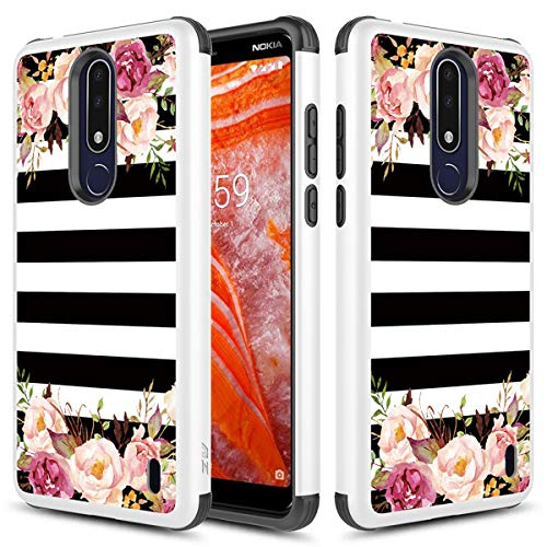 (Fit Cricket Nokia 3.1 Plus Case, Phonelicious Phone Cover Dual Layer Armor Rugged Shield Hybrid Shockproof Slim Fit Compatible with Nokia 3.1+ (Rose Stripes))