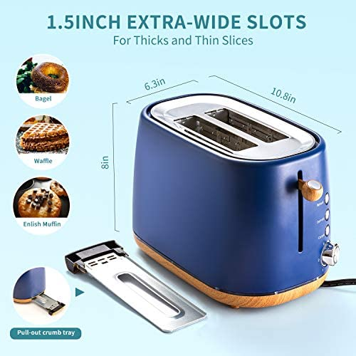 Kichele Toaster 2 Slice Toasters Retro Stainless Steel with Extra Wide Slot, Removable Crumb Tray, Reheat Defrost Cancel Function for Bread, Blue