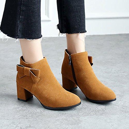 AIYOUMEI Damen Ankle Boots Blockabsatz Runden Stiefeletten mit Schleife und 6cm Absatz High Heels Kurzschaft Stiefel Braun