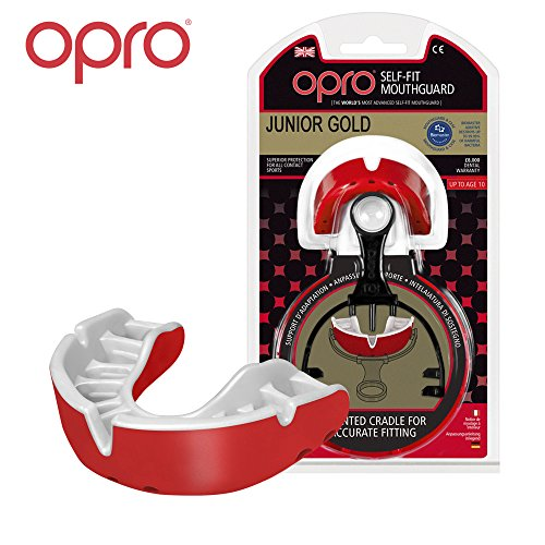 OPRO Mouthguard Custom-Fit Gold Level Gum Shield for Ball, Combat and Stick Sports - 18 Month Dental Warranty (Adult and Kids Sizes) (Red/Pearl, Kids)
