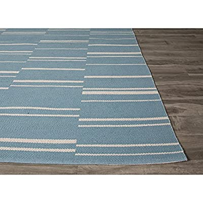 8' x 11' Teal and Off-White Flat-Weave Riverdale Stripe Pattern Cotton Area Throw Rug