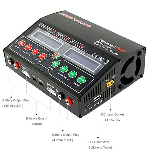 harger Dual Charge Port, Fast Lipo Charger, AC/DC Balance Charger 12A 120-240W W/ AC Power (Dual Lipo Charger)