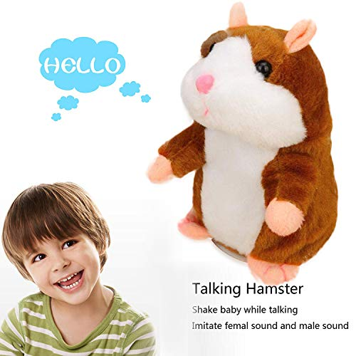 Mimicry Pet Talking Hamster Repeats What You Say Plush Animal Toys Electronic Pet Talking Plush Buddy Hamster Mouse Interactive Toys for Valentine's Day, Birthday Kids Gift Boy & Girl Early Learning