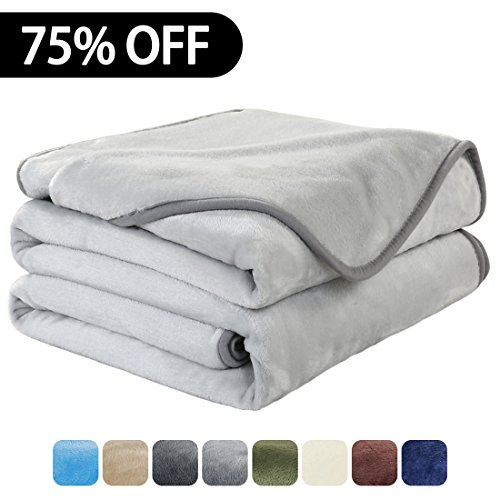 Luxury Fleece Super Soft Thermal Blanket Warm Fuzzy Microplush Lightweight Blankets for Bed Sofa, Seashell Series,King,90 by 108 Inches,Silver Gray (Big Lights Christmas Lots)