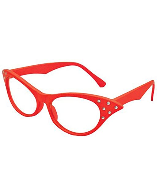 d3e9ed11d1 Image Unavailable. Image not available for. Color  Cat Eye Glasses - Red  Sexy 50s Rhinestone Cateye Spectacles by Funny ...