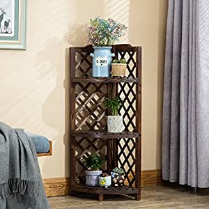 Balcony preservative wood corner solid wood flower stand indoor multilayer flower floor racks outdoor racks-A