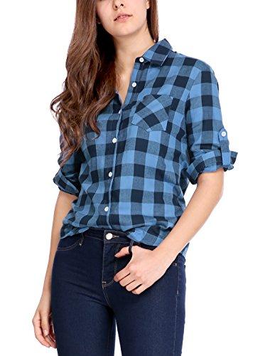 - Allegra K Women's Roll Up Sleeves Button Placket Plaid Shirt Black Blue S