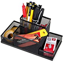 Mesh Desk Organizer, Pencil Holder for Office Supplies with 4 Compartments, Lightweight Durable Desk Caddy for Pen Scissors Paper Clips Stapler