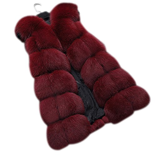 Dikoaina Fashion Women's Warm Long Faux Fox Fur Vest Waistcoat Sleeveless Jacket Coat