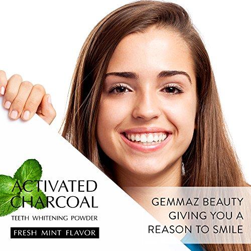 Gemmaz Charcoal Teeth Whitening Powder, Coconut Activated Charcoal Teeth Whitening, Enamel Safe Teeth Whitener for Sensitive Teeth Gums, Fresh Mint Flavor 30g by Gemmaz (Image #5)