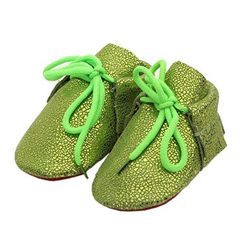 leap frog  Bling Leather Mocassins, Baby Jungen Krabbelschuhe & Puschen Fluorescent Green