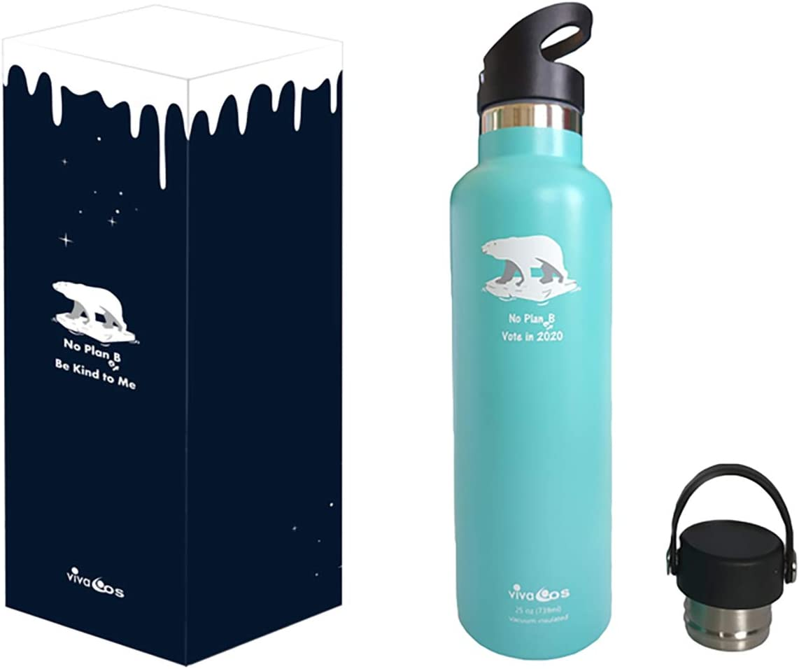 Viva Eos Polar Bear No Plan(et) B Travel Sport/Travel/Coffee Mug   Stainless Steel + Vacuum Flask Double Wall Insulated   Wide/Standard Mouth + 2 caps  Multiple Sizes Multiple Colours Powder Coated