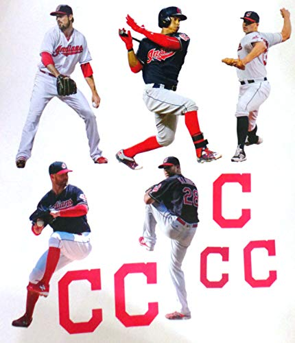 FATHEAD Cleveland Indians Mini Graphics Team Set of 5 Players + 5 Indians Logo Official MLB Vinyl Wall Graphics Each Player 7