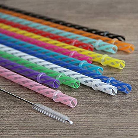 DAKOUFISH 12 Piece 11 Inch Reusable Plastic Thick Drinking Straws BPA Free Mason Jar Straws Transparent Small Stripe 11inch, Mix 12color