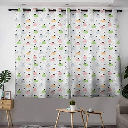 DGGO Blackout Curtains Panels,Pastel Grunge Pattern with Colorful Apples Pears and Leaves Sweet and Tasty Summer Fruits,Insulated with Grommet Curtains for Bedroom,W63x63L Multicolor