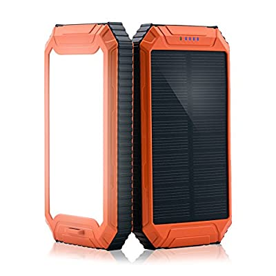 Solar Power Bank, PowerGreen10000mAh Solar Charger 2-Port USB - External Battery Pack charger for iPhone 6/6s,Andriod,HTC and More