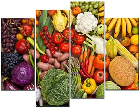 SmartWallArt - Food Paintings Wall Art Many Kinds of Fruit and Vegetable Tomato & Melon 4 Pieces Picture Print on Canvas for Modern Home Decoration