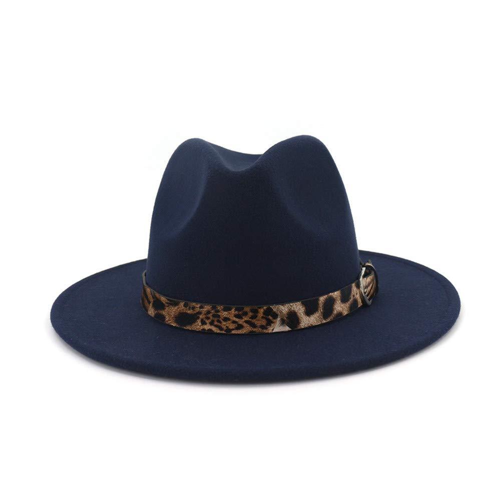 Details about Lisianthus Women s Leopard Classic Wide Brim Felt Fedora  Panama Hat Navy Blue 7d754df39