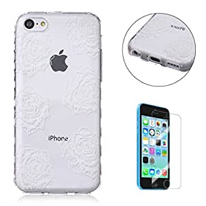 Funda CaseHome Apple iPhone 5C Silicone Gel Carcasa(Con HD Pantalla Protectora),[Seis Rosas] Transparente Ligera Ultra Delgado Dure Antideslizante Alta Suave TPU Caucho
