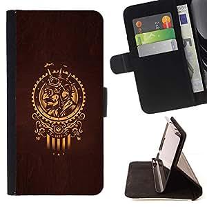 Momo Phone Case / Flip Funda de Cuero Case Cover - Oro Samurai Sun símbolo Brown - Sony Xperia M2
