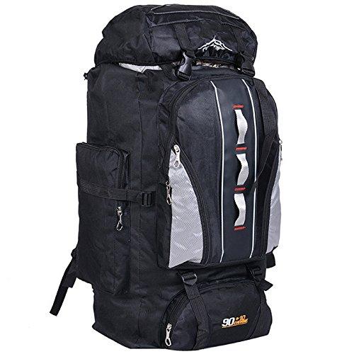 LightInTheBox 100L Hiking Camping Backpacks Large Capacity Traveling Sports Bags Unisex Multifunction Outdoor Backpacks Rucksack Trekking Bag Backpacking/Climbing Backpack/camping Backpack (Black)