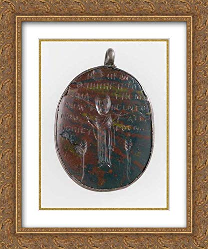 Coptic Culture - 20x24 Gold Ornate Frame and Double Matted Museum Art Print - Amulet Carved in Intaglio (Incised) (Carved Intaglio)