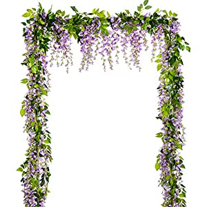 Lvydec Wisteria Artificial Flowers Garland, 4Pcs Total 28.8ft Artificial Wisteria Vine Silk Hanging Flower for Home Garden Outdoor Ceremony Wedding Arch Floral Decor 106