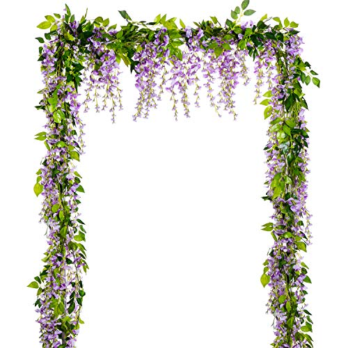 Lvydec Wisteria Artificial Flowers Garland, 4 Pcs Total 28.8ft Artificial Wisteria Vine Silk Hanging Flower for Home Garden Outdoor Ceremony Wedding Arch Floral Decor (Light Purple) from Lvydec