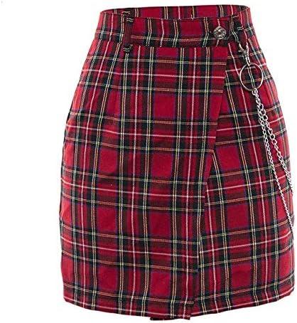 ZYSDHZ Falda A Cuadros Minifalda De Cuadros Rojos De Primavera ...