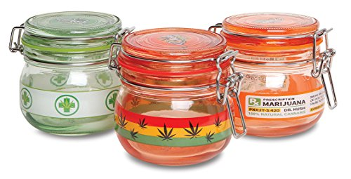 Glass Stash Jar for Marijuana, Weed, Herb - Small (Assorted 3 Pack) (Small Glass Jars For Herbs compare prices)