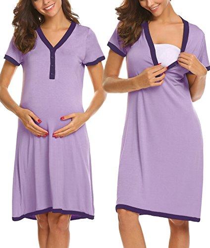 Ekouaer Women's Short Sleeve Delivery/Maternity/Nursing Nightgown Pregnancy Gown Night Sleep Dress,Light - Night Dress Maternity