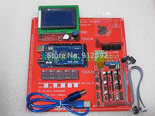 BeediY 1pcs Mega 2560 R3 + 1pcs Ramps 1.4 Controller + 5pcs DRV8825 Stepper Driver Module +1pcs LCD 12864 +1pcs MK2B for 3D Printer kit