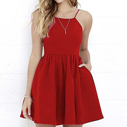 Pure Vêtements Rond Femmes De Col Soirée Marché Jupe Décontractée Slim Sans Moelleuse Backless Couleur Manches Rouge Sling Élégant Simple Bon Parties Adeshop Robe Robes nHwqxpzHP
