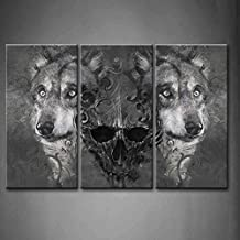 First Wall Art - 3 Panel Wall Art Black And White Wolf Over And Human Skeleton Painting Pictures Print On Canvas Animal The Picture For Home Modern Decoration piece (Stretched By Wooden Frame,Ready To Hang)