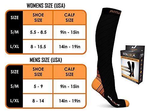 Physix Gear Compression Socks for Men & Women 20-30 mmhg, Best Graduated Athletic Fit for Running Nurses Shin Splints Flight Travel & Maternity Pregnancy - Boost Stamina Circulation & Recovery ORG LXL